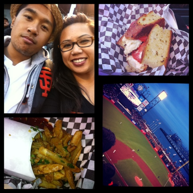 (Top Left) My Lady & I - (Top Right) Crazy Crab Sandwich - (Bottom Left) Garlic Fries -  (Bottom Right) AT&T Park